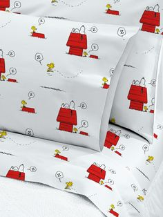 Snoopy and Woodstock Percale Sheet Set: Made from cotton in Portugal, Europe's premier bedding maker, the sheets feature a fun Peanuts print inspired by the original comic strip in tribute to the gang's 65th anniversary.