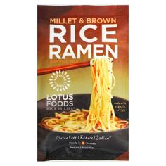 Gluten Free, Reduced Sodium, Ready In 4 Minutes Lotus Foods brings you Millet & Brown Rice Ramen, traditional Japanese-style noodles made from our specialty rice instead of wheat! In addition to being Rice Ramen Recipe, Ramen Noodle Recipes, Ramen Noodles, Noodle Soup, Tortilla Recipe, Gluten Free Rice, Gluten Free Recipes, Vegetarian Recipes, Healthy Recipes