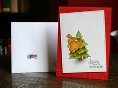 Ela est là: More Christmas cats CAS christmas card with cat using stamps from Newton's Nook Designs!