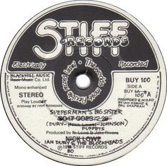 Sueperman's Big Sister label design, with the label for the first Stiff Records single (BUY 1) altered for the hundredth in that sequence (BUY 100).