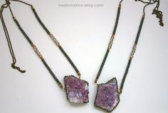 Amethyst Druzy Slab Necklace with Pyrite by HedonistINC on Etsy