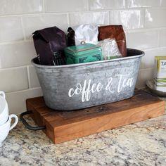 A Southern Bucket Coffee & Tea Galvanized Tub Metal Storage Bins, Tea Storage, Storage Tubs, Storage Buckets, Storage Ideas, Galvanized Decor, Galvanized Buckets, Metal Buckets, Kitchen Organisation