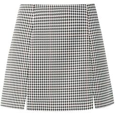 Monochrome Houndstooth Notch Split Skirt ($17) ❤ liked on Polyvore featuring skirts, mini skirts, bottoms, saias, faldas, mini skirt, houndstooth skirts, slimming skirts and houndstooth mini skirt
