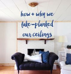 Popcorn ceilings: How The Nester fake planked them