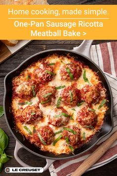 Winter comfort food at its best: This one-pan sausage ricotta meatball bake goes from oven to stove to table in America's Test Kitchen's recommended skillet, the enameled cast iron Signature Skillet from Le Creuset. Italian Dishes, Italian Recipes, Appetizer Recipes, Dinner Recipes, Italian Appetizers, Drink Recipes, Pork Recipes, Cooking Recipes, Recipies