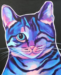 Colorful Tabby Cat, Animal Art by Alicia VanNoy Call - MJ McWhiskers