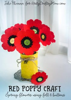 Spring flowers: Red Poppy Felt Craft – A Remembrance, Armistice or Veteran's day activity. Easy step by step tutorial for kids to make. Tags - how to make a red poppy flower, Remembrance Day Poppy Craft , Beautiful Red Poppy Crafts for Kids to Make, Mem Poppy Craft For Kids, Crafts For Kids To Make, Projects For Kids, Art Projects, Craft Stick Crafts, Felt Crafts, Craft Sticks, Craft Ideas, Popsicle Sticks