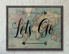 Go Find Yourself Travel Poster Vintage World Map Art by PartyInked