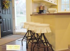 Bar Stools with Box Pleats by Cozy Cottage Slipcovers