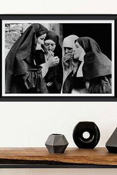 Vintage black and white photography/Old funny photo/Smoking nuns photography/Fashion Photography/Stylish photo