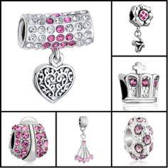 for European Bracelet Twins Baby Footprint Heart June Birthstone Dangle Bead Charm