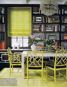 Jonathan Adler: Lime green faux bamboo chairs, glossy white table, lime green rug, lime green roman ...