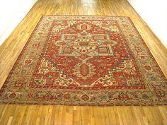 "Persian: Geometric 13' 0"" x 11' 0"" Antique Heriz at Persian Gallery New York - Antique Decorative Carpets & Period Tapestries"