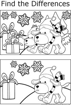 Kids will enjoy finding the differences between the two pictures of puppies and presents in this printable coloring page for kids.