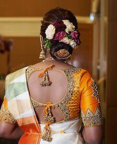 Latest Silk Saree Blouse Designs for South Indian Brides 2020 - Tikli Blouse Back Neck Designs, Fancy Blouse Designs, Wedding Saree Blouse Designs, Pattu Saree Blouse Designs, South Indian Bride Saree, Latest Silk Sarees, Designer Blouse Patterns, Glow, Maggam Works