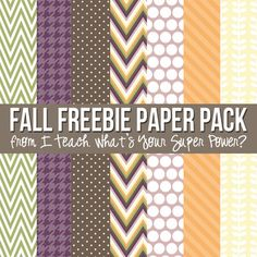 Have fun with this set of fall freebie papers in chevron, polka dots, houndstooth, and leaves.  Seven 12x12 papers created at 300 dpi.  Papers are for personal or commercial use. If using for TPT or other teacher resource sites, please include a link to my store or blog, www.teachingsuperpower.blogspot.com.