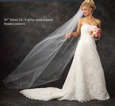 Beaded Chapel Length Wedding Veil - On sale!