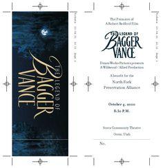 North Fork Preservation Alliance, The Legend of Bagger Vance premiere tickets :: Robert A Jones design portfolio Freelance graphic designer 801.386.9870 raj@stenar.net