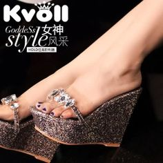 T26460 Kvoll Fashion Transparent Rhinestone Sequins Wedge Heel Slipper Silver [T26460] - $20.25 : China,Korean,Japan Fashion clothing wholesale and Dropship online-Be the most beautiful Lady
