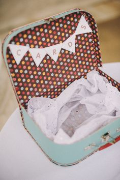 Use a vintage suitcase to collect cards at your wedding! Photography credit: Divine Light Photography http://www.candyandco.com