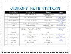 Ketchen's Kindergarten: January Math Stations