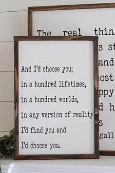 And I'd choose you  Framed Wood Sign  Farmhouse Decor