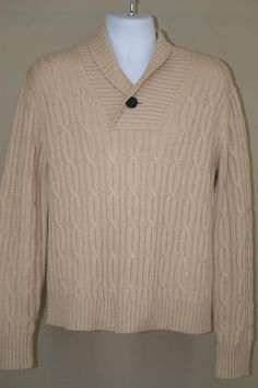 NWT Tre Vero Beige Shawl Collar Neck Cable Knit 100% Cashmere Sweater size M #TreVero #ShawlCollar