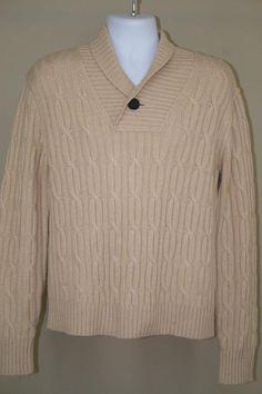 NWT Tre Vero Beige Shawl Collar Neck Cable Knit 100% Cashmere Sweater size M #TreVero #ShawlCollar