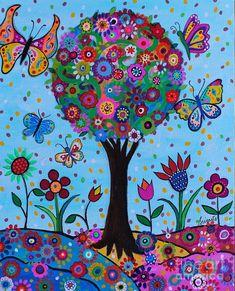 Tree Of Life Painting, Tree Of Life Art, Tree Art, Tree Of Life Images, Painting Art, Bohemian Painting, Bohemian Art, Folk Art Flowers, Flower Art