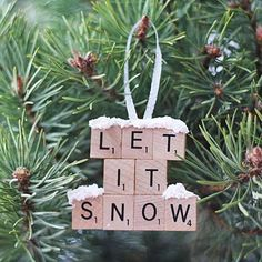 Scrabble Tile Ornament | 27 Spectacularly Easy DIY Christmas Tree Ornaments, see more at http://diyready.com/spectacularly-easy-diy-ornaments-for-your-christmas-tree