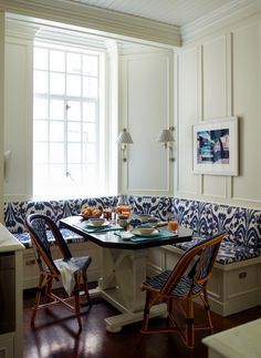 Ashley Whittaker | Dining Banquette | Ikat | Blue Bistro Chairs