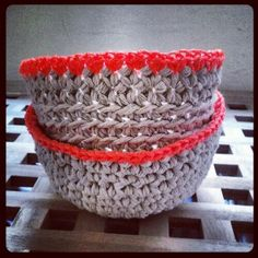 Crochet bowls made with cotton twine and fluoro builders twine