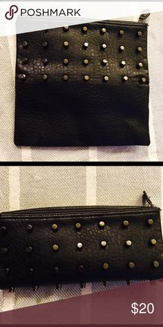 Black Leather Studded Clutch Black leather large Clutch. Very versatile. Bags Clutches & Wristlets