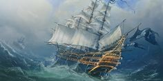 Concept art for the dutch tall sailing ship the 'Zee Vrouw' pressed into a pirate ship.