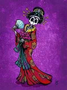 Day of the Dead Artist David Lozeau, La Geisha, Day of the Dead Art, David Lozeau Dia de los Muertos Art