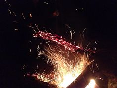 Fire and sparks; just sitting around and trying to keep warm in 8 degrees