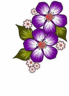 Discover thousands of images about Unhas Flower Patterns, Flower Designs, Rock Flowers, Purple Flowers, Fabric Paint Designs, Flower Doodles, Fabric Painting, Painting Patterns, Painted Rocks