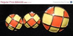Fabulous Mondrian style Brooch & Earrings Set On Sale - 29.00