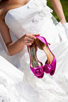 Beautiful fushia Kate Spade shoes and white LaRichi Couture wedding dress Dark Pink Weddings, Purple Wedding, Wedding Colors, 20 Wedding Anniversary, Wedding Heels, Here Comes The Bride, Bridal Dresses, Marie, Wedding Inspiration