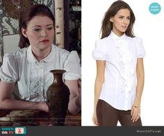 Belle's white ruffled front shirt on Once Upon a Time.  Outfit Details: http://wornontv.net/52627/ #OUAT