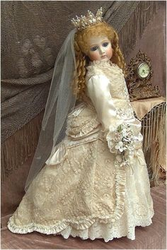 """EUGENIE"" EMPRESS BRIDE PORTRAIT JUMEAU   Antique Replica By Mary Benner"