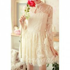 Bell Sleeves Turtle Neck High Waistline Hollow Out Nail Bead Multi-layered Ruffles Hem Ladylike Women's Vintage Lace Dress