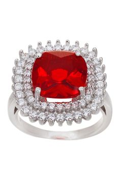 Sterling Silver CZ Cushion Ring~that ring but with an emerald instead of the ruby would be my so totally perfect ring.