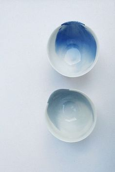 Beautiful watercolor handmade bowls with organic shape.