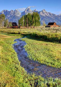 Stream And John Moulton Barn - Grand Teton National Park Photograph