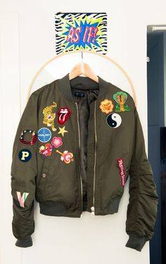 """""""It's meant to say 'Poppy' down one side of the arm but some of the #patches fell off after a night out dancing."""" http://www.thecoveteur.com/poppy-lissiman/"""
