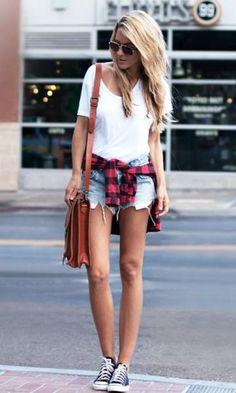 #Summer #Outfits / White T Shirt + Denim Short Shorts