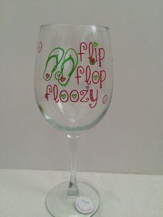 Flip Flop Floozy wine glass by loloandlivscreations on Etsy