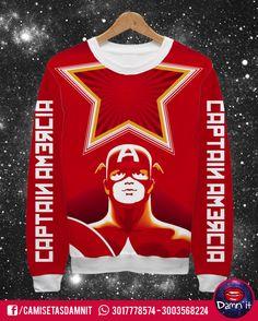 Buzo básico Capitán América    https://www.facebook.com/CamisetasDamnit