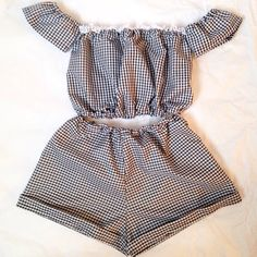 Black gingham two piece co-ord. Made to order shorts & off the shoulder top. Shipping time days ✨ - Sold by Cute Fashion, Diy Fashion, Fashion Outfits, Fashion Design, Crop Top Outfits, Summer Outfits, Cute Outfits, Sewing Clothes, Diy Clothes